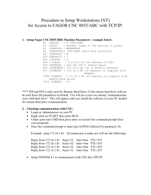 FAGOR 8055 CNC Windows NT TCP/IP