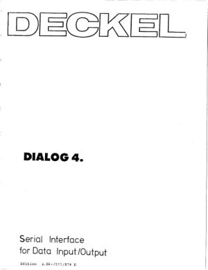 Download PDF Deckel Dialog 4 Serial Interface for Data IO